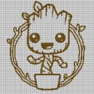 Little Groot 2 silhouette cross stitch pattern in pdf