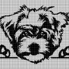 Maltese dog silhouette cross stitch pattern in pdf