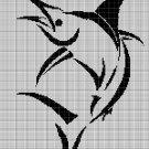 Marlin silhouette cross stitch pattern in pdf