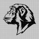 Monkey head silhouette cross stitch pattern in pdf
