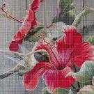 Hibiscus and hummingbird DMC cross stitch pattern in pdf DMC