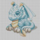 Little blue dragon 2 DMC cross stitch pattern in pdf DMC