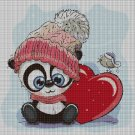 Love panda DMC cross stitch pattern in pdf DMC