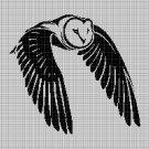 Owl in flight silhouette cross stitch pattern in pdf