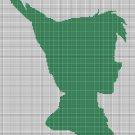 Peter Pan head silhouette cross stitch pattern in pdf