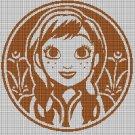 Princess Anna silhouette cross stitch pattern in pdf