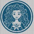 Princess Merida silhouette cross stitch pattern in pdf