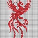 Red phoenix silhouette cross stitch pattern in pdf