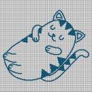 Sleeping cat silhouette cross stitch pattern in pdf