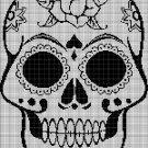 Sugar skull 3 silhouette cross stitch pattern in pdf