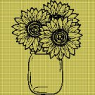 Sunflowers silhouette cross stitch pattern in pdf