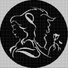 The Beauty and the Beast silhouette cross stitch pattern in pdf