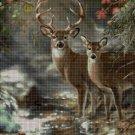 Deers at the stream DMC cross stitch pattern in pdf DMC