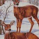 Deers in winter DMC cross stitch pattern in pdf DMC