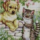 Dog and kitten on the fence DMC cross stitch pattern in pdf DMC