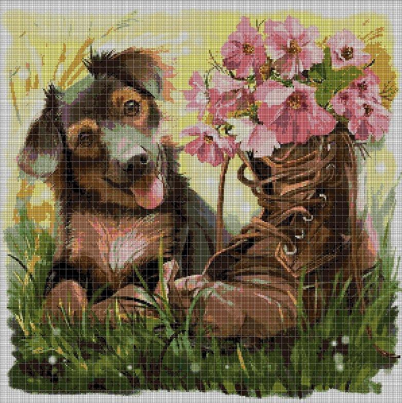 Dog with boots DMC cross stitch pattern in pdf DMC