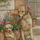 Dogs by the stairs DMC cross stitch pattern in pdf DMC