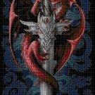 Dragon in cross DMC cross stitch pattern in pdf DMC