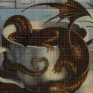 Dragon in teacup DMC cross stitch pattern in pdf DMC