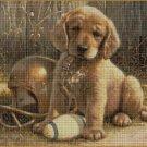 Football dog DMC cross stitch pattern in pdf DMC