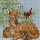 Forest animals in winter DMC cross stitch pattern in pdf DMC