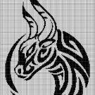 Tribal bull head silhouette cross stitch pattern in pdf