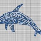 Tribal Dolphin 2 silhouette cross stitch pattern in pdf