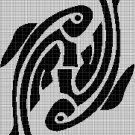 Tribal fishes silhouette cross stitch pattern in pdf
