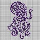 Tribal octopus silhouette cross stitch pattern in pdf