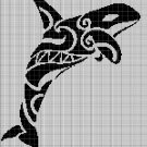 Tribal Orca silhouette cross stitch pattern in pdf