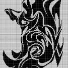 Tribal Rhino head 2 silhouette cross stitch pattern in pdf