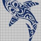 Tribal shark silhouette cross stitch pattern in pdf