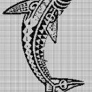 Tribal shark 2 silhouette cross stitch pattern in pdf