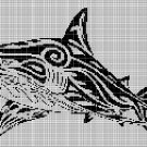 Tribal shark 3 silhouette cross stitch pattern in pdf