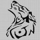 Tribal wolf head 4 silhouette cross stitch pattern in pdf