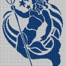 Triton silhouette cross stitch pattern in pdf