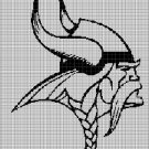 Viking head 2 silhouette cross stitch pattern in pdf
