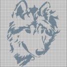 Wolf head 3 silhouette cross stitch pattern in pdf