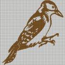 Woodpecker silhouette cross stitch pattern in pdf