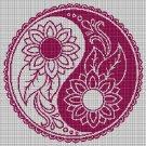 Yin Yang Flower silhouette cross stitch pattern in pdf