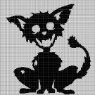 Zombie Cat silhouette cross stitch pattern in pdf