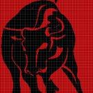 The Bull silhouette cross stitch pattern in pdf