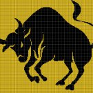 The Bull 3 silhouette cross stitch pattern in pdf