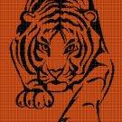 Tiger 3 silhouette cross stitch pattern in pdf