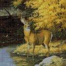Deer in autumn DMC cross stitch pattern in pdf DMC