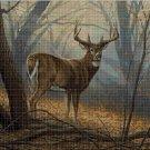 Deer in forest DMC cross stitch pattern in pdf DMC