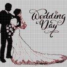 Wedding Day silhouette cross stitch pattern in pdf