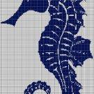 Aqua seahorse silhouette cross stitch pattern in pdf