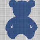 Blue Teddy bear silhouette cross stitch pattern in pdf