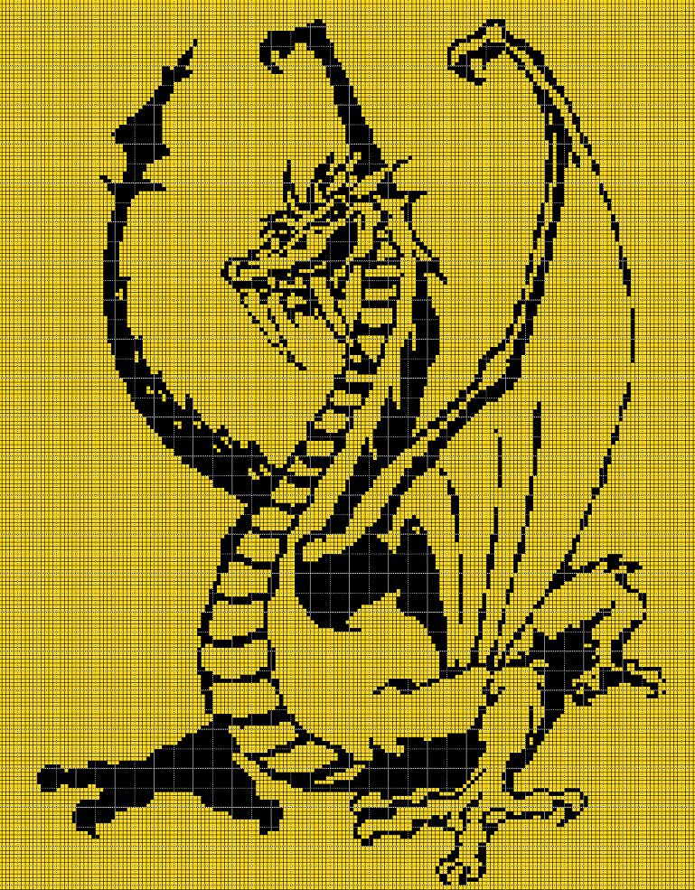 Dragon is angry silhouette cross stitch pattern in pdf